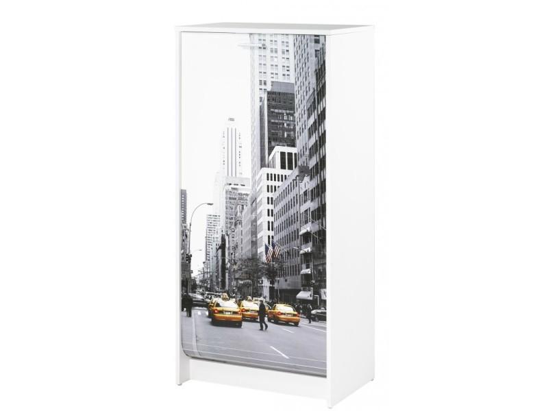 Meuble A Chaussures Blanc 7 Tablettes Coloris Scene New York 504 Vente De Beauxmeublespaschers Conforama