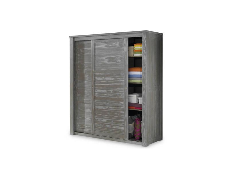 Armoire 2 portes coulissantes bois massif gris - gabriel - l 180 x l 64 x h 202 - neuf