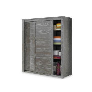 armoire 2 portes coulissantes bois massif gris gabriel. Black Bedroom Furniture Sets. Home Design Ideas