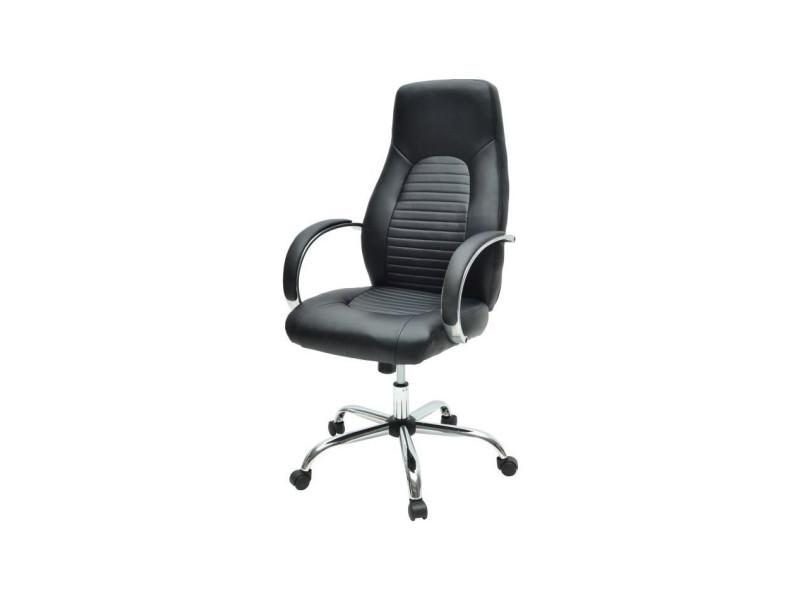 Flat chaise de bureau simili noir style industriel l p
