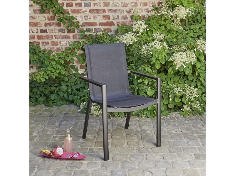 Fauteuil de jardin en aluminium et textilène noir