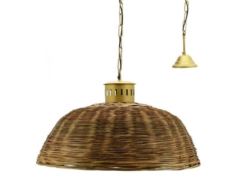 Suspension en bambou teinté et métal doré diamètre 70 cm