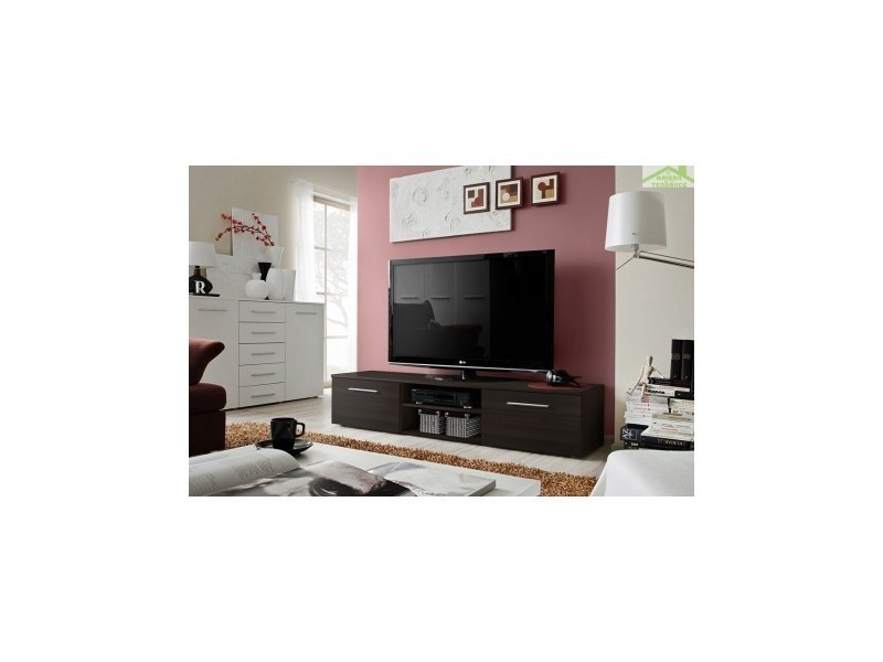 meuble tv bono ii en weng 180x37x45 cm 23 em b2 vente de meuble tv conforama. Black Bedroom Furniture Sets. Home Design Ideas