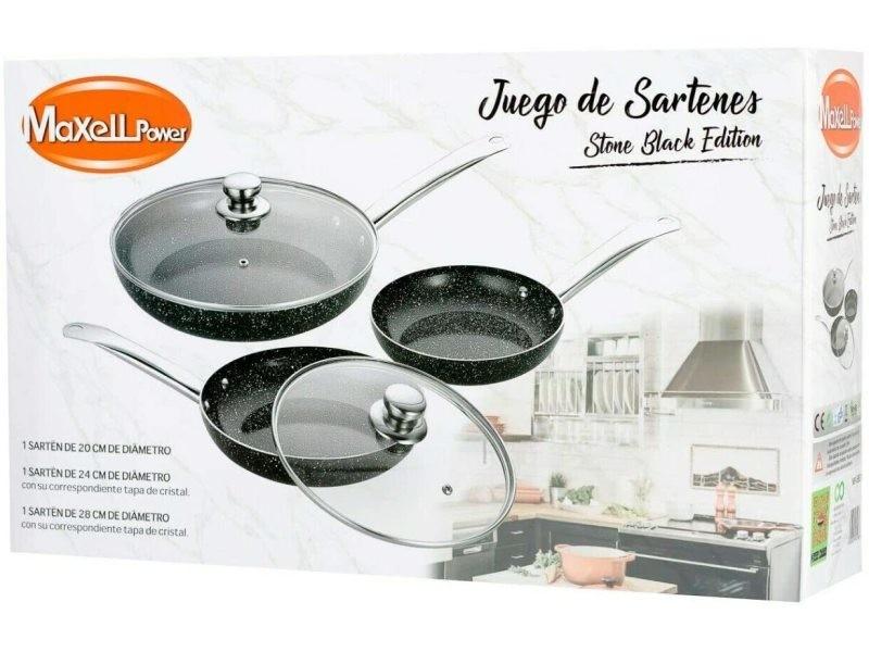 Lot de 3 poêles revêtement céramique avec couvercle pour tous type de plaque, diamètre 28 - 24 -20 cms B08FMRGT2J