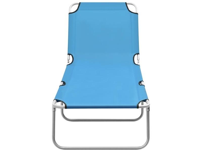 Vidaxl chaise longue pliable acier et tissu bleu turquoise 310329