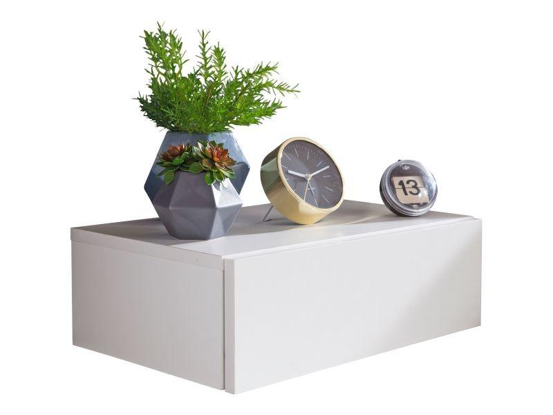 Table De Chevet Fixation Murale Coloris Blanc Avec 1 Tiroir