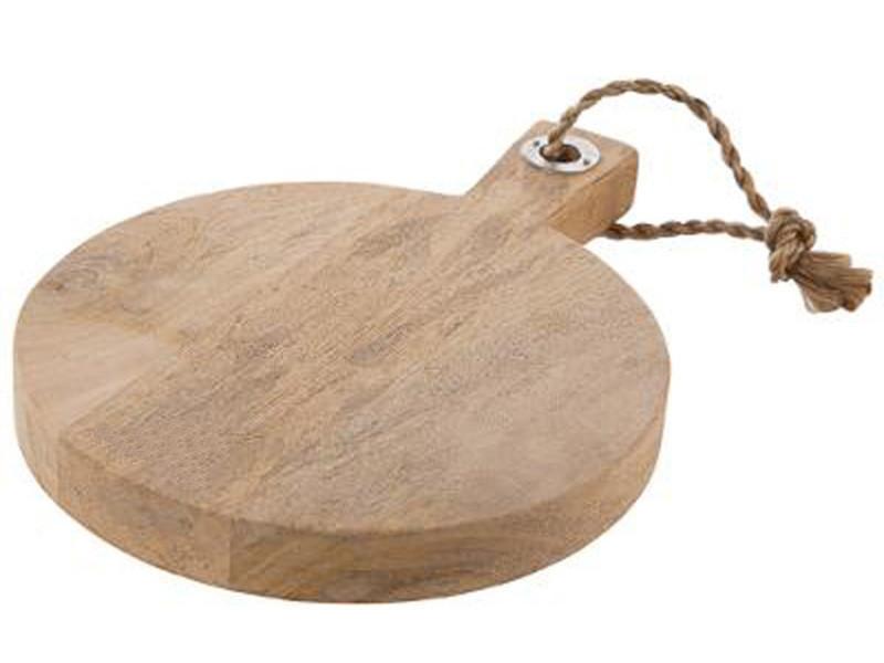 Planche à découper rond en bois avec poignée - dim : l 35 x l 26 x h 3.5 cm - pegane -
