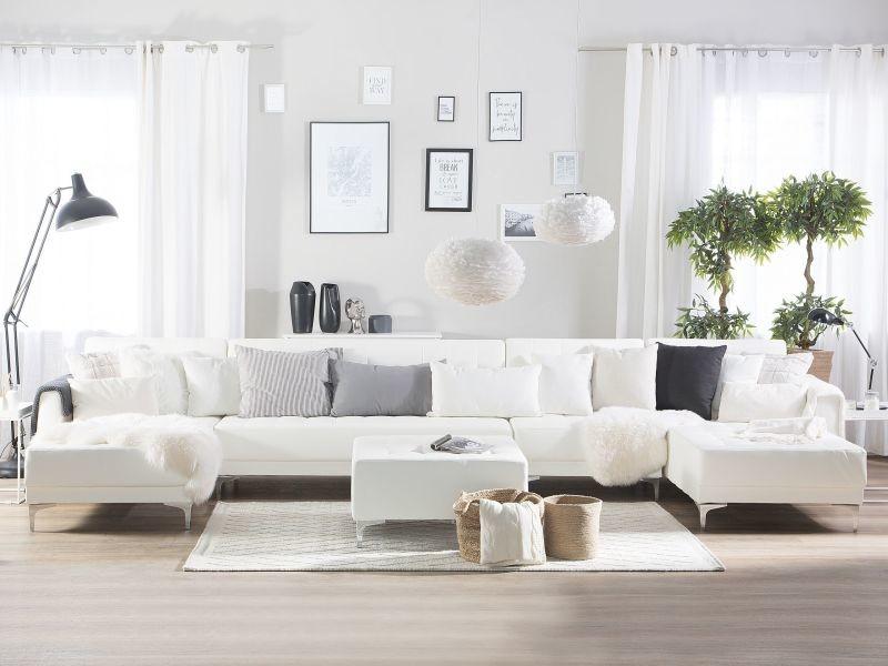 Canapé panoramique convertible en simili-cuir blanc 6 places avec pouf aberdeen 150500