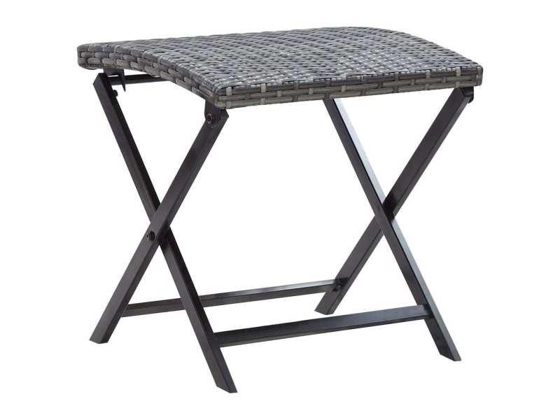 Esthetique mobilier de jardin reference khartoum tabouret pliable résine tressée gris