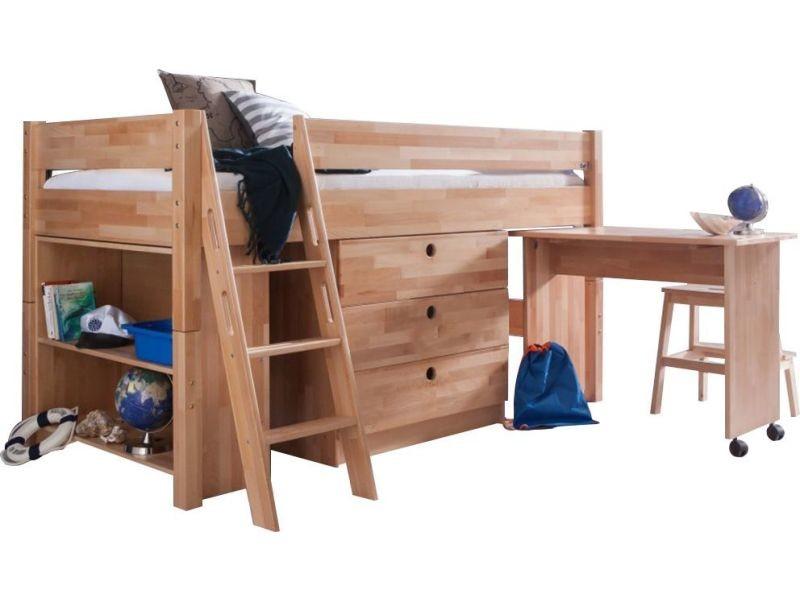 Lit combiné pour enfant en bois massif coloris hêtre p