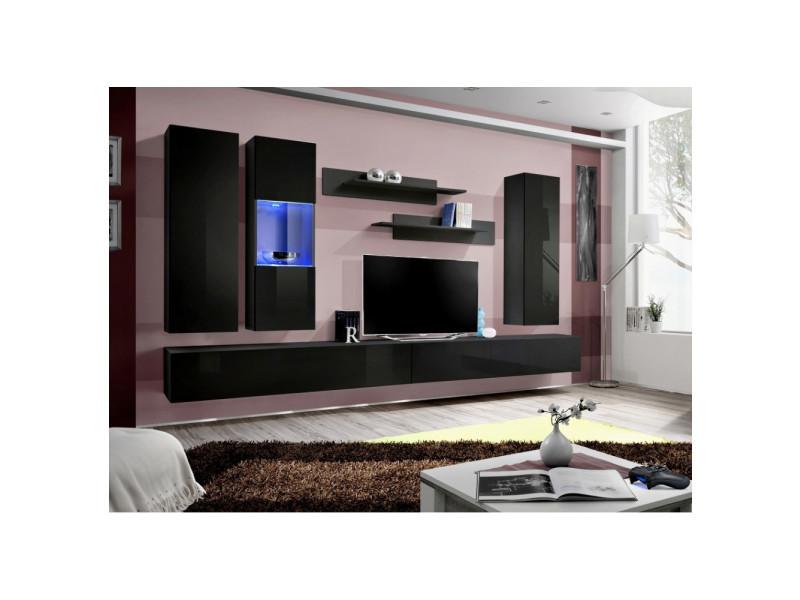 Ensemble meuble tv mural - fly v- 339 cm x 190 cm x 40 cm - noir