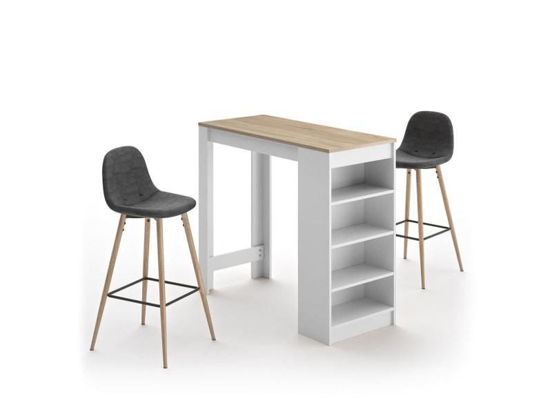 A-cocoon table et chaises - blanc et chêne naturel - gris anthracite