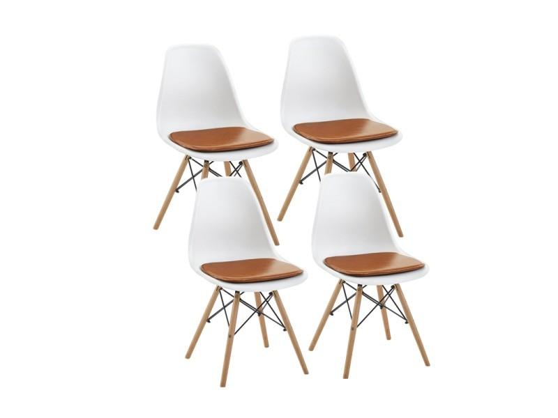 Lot de 4 blanc chaise scandinave design+4 coussins pour chaises,camel