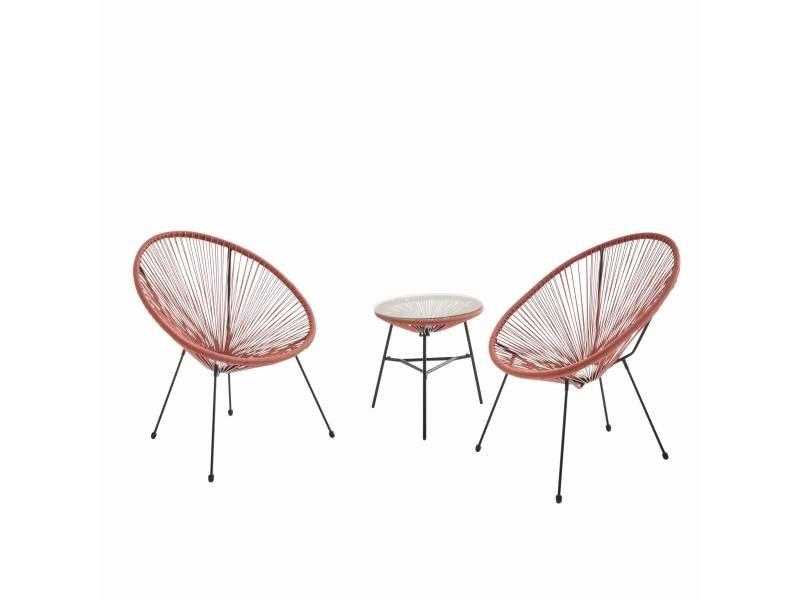 Lot de 2 fauteuils acapulco forme d'oeuf avec table d'appoint - terra cotta - fauteuils 4 pieds design rétro. Avec table basse. Cordage plastique. Intérieur / extérieur