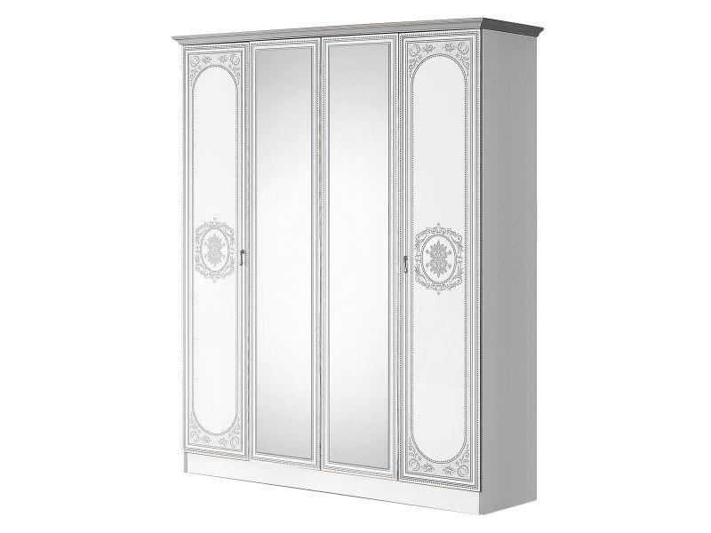 Solaya - armoire 4 portes avec miroir central