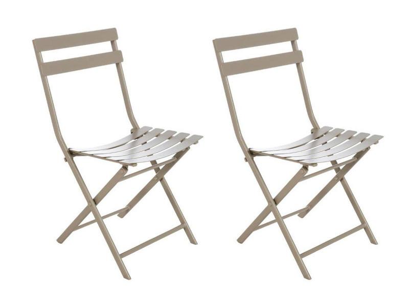 Lot de 2 chaises de jardin métal pliante greensboro taupe - hesperide
