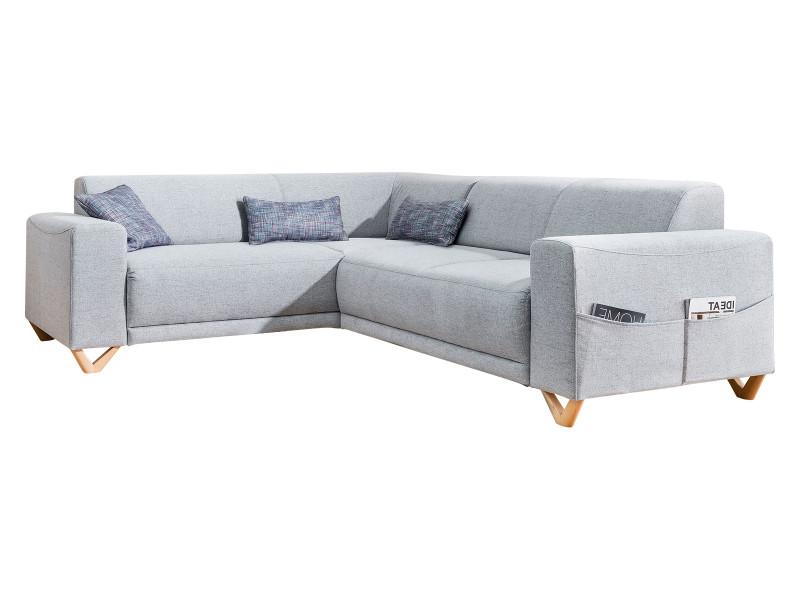 Canapé d'angle panoramique fixe bella gris clair angle gauche