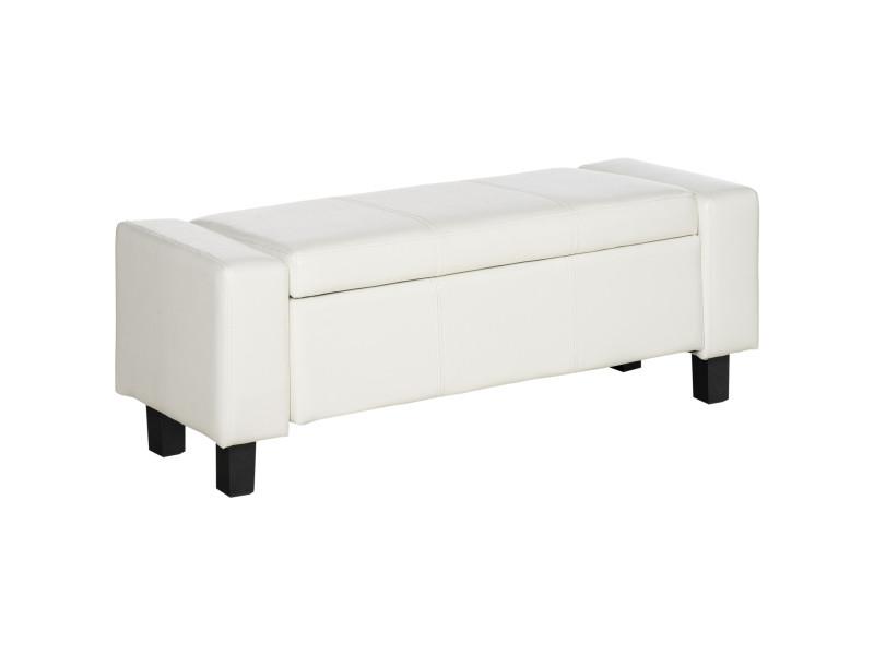 banc coffre de rangement 2 en 1 simili cuir capitonn 106l x 40l x 40h cm blanc vente de. Black Bedroom Furniture Sets. Home Design Ideas