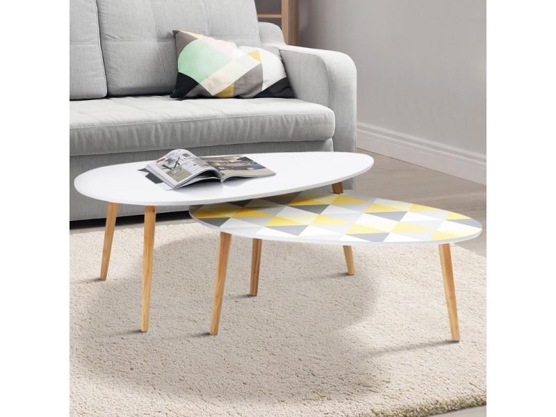 Lot de 2 tables basses gigognes laquées blanc motifs blanc jaune gris