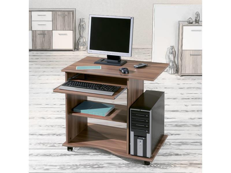 bureau meuble informatique gain de place et pratique pur sur roulettes d cor noyer. Black Bedroom Furniture Sets. Home Design Ideas