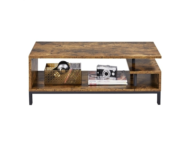 Yaheetech meuble tv bas table tv support de télévision en bois 106 x 39,5 x 40 cm pour salon chambre salle à manger à 3 niveaux style industriel marron rustique