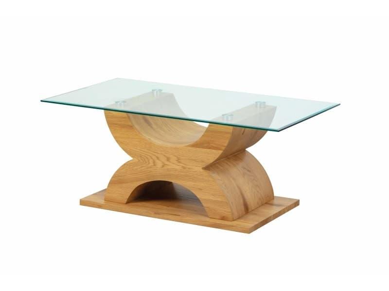 Table basse plateau verre x-type imitation chêne sauvage