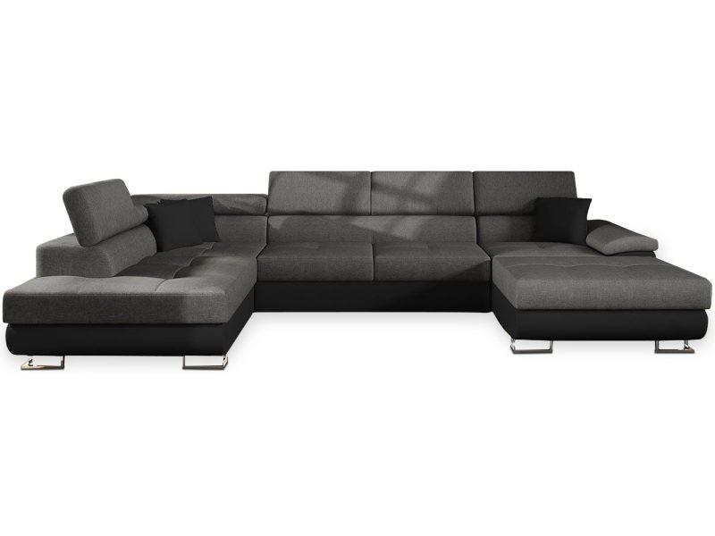Canapé d'angle en u convertible levusian simili noir et tissu gris