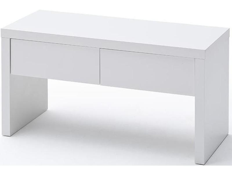 Banc coloris blanc laqué brillant - longueur 91 x hauteur 48 x profondeur 38 cm -pegane- PEGANE