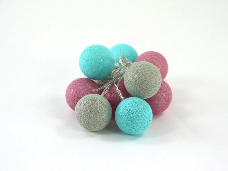 Guirlande lumineuse 10 boules led - gris/rose/bleu - atmosphera