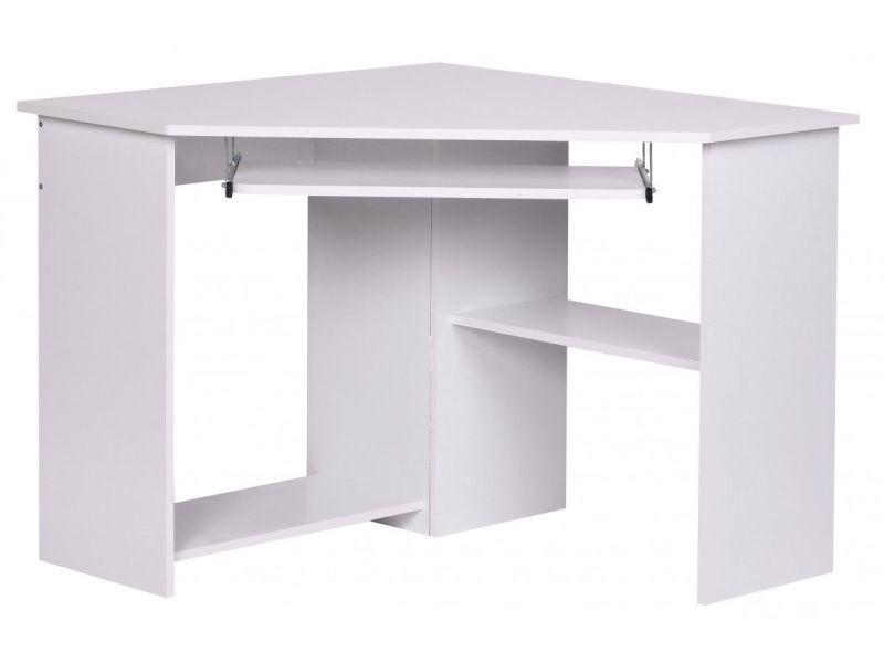 Bureau d angle moderne pour ordinateur cm coloris blanc