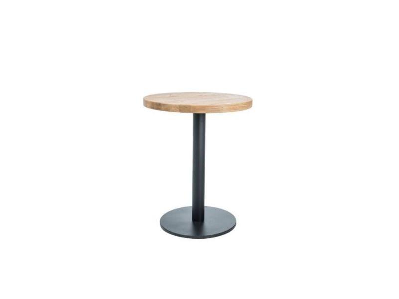 Purly - table ronde avec un piètement en métal - 80x80x76 cm - plateau en bois massif - table fixe - style loft - chêne