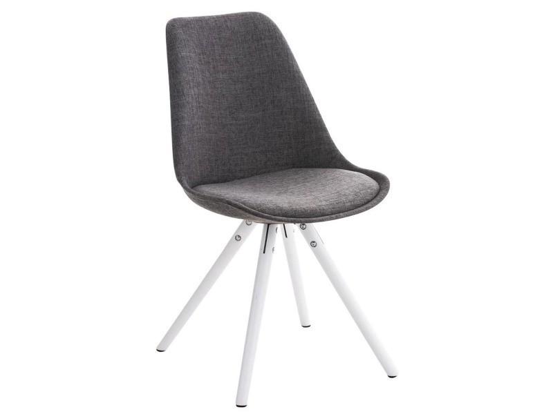 Chaise ronde en bois et tissu blanc/gris clair - 84 x 47 x 59 cm - pegane -