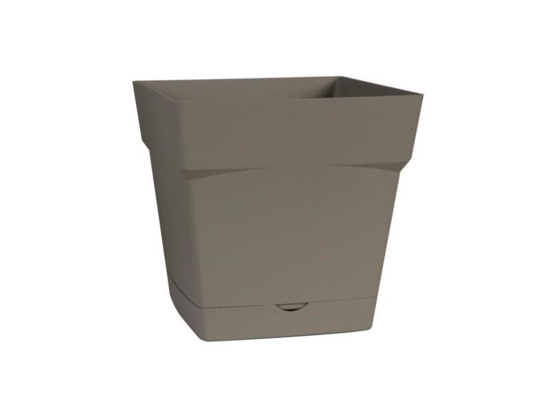 Eda pot carré toscane 17,4 cm - contenance 3,4 l - taupe