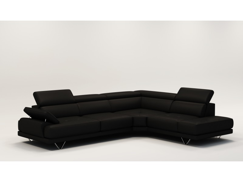 Canapé dangle design en cuir noir emma-