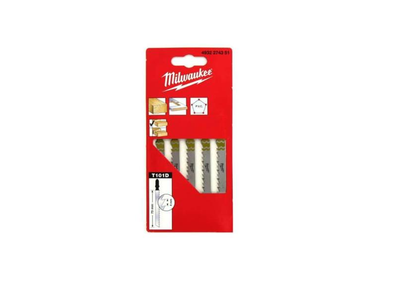 Pack de 5 lames scie sauteuse milwaukee bois/pvc 75 mm denture de 4 mm 4932274351 MILWLAMSAUTT102