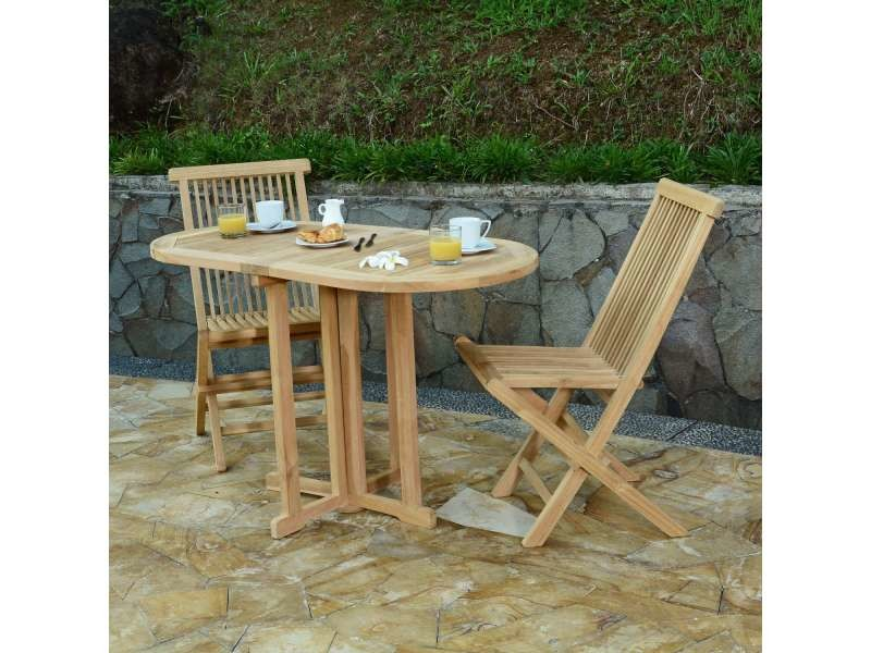Salon de jardin en teck ecograde tahiti, table pliante 120 x 60 cm + ...