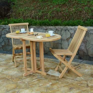 Salon de jardin en teck ecograde© tahiti, table pliante 120 x 60 ...