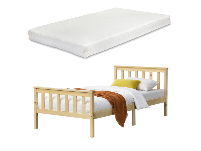 Cadre de lit design pour adultes en bois de pin à sommier à lattes lit simple avec matelas à mousse à froid capacité de charge 150 kg 120 x 200 cm bois naturel [en.casa]