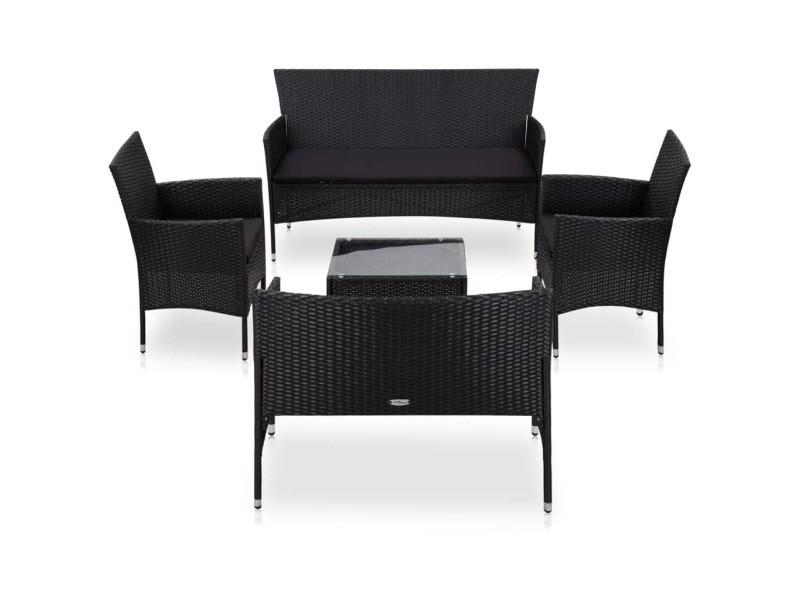 Contemporain mobilier de jardin gamme harare salon de jardin 5 pcs avec coussins résine tressée noir