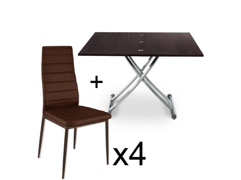 table basse relevable bois wenge et lot de 4 chaises