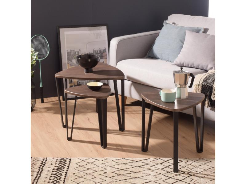 Lot de 3 table basse industriel bois &métal noyer &noir