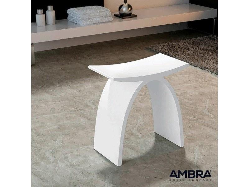 Tabouret blanc osaka en solid surface - Vente de AMBRA ...