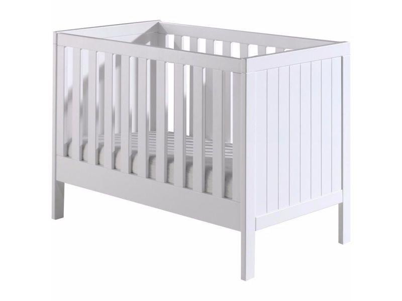 Lit bébé 60x120 cm avec sommier à lattes en pin massif et mdf ...