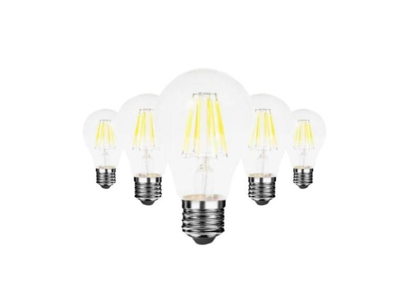 Ampoule e27 led filament 6w 220v cob 360° (pack de 5) - blanc chaud 2300k - 3500k