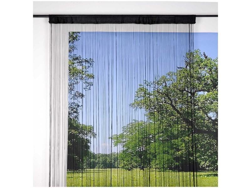 Rideau fil effet voile 140x240cm noir - Conforama