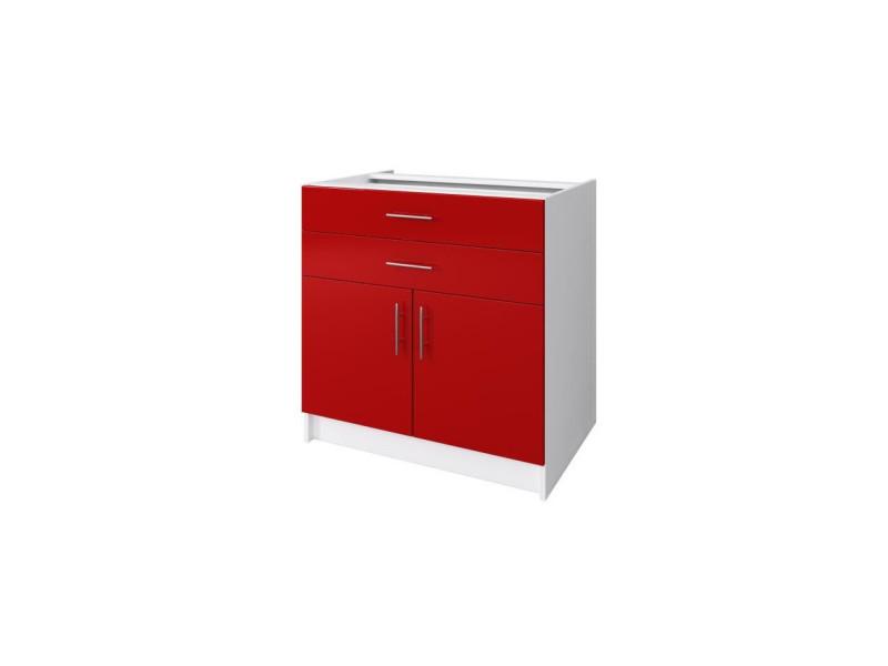 Obi caisson bas de cuisine avec 2 portes, 2 tiroirs l 80 cm - blanc et rouge laqué brillant