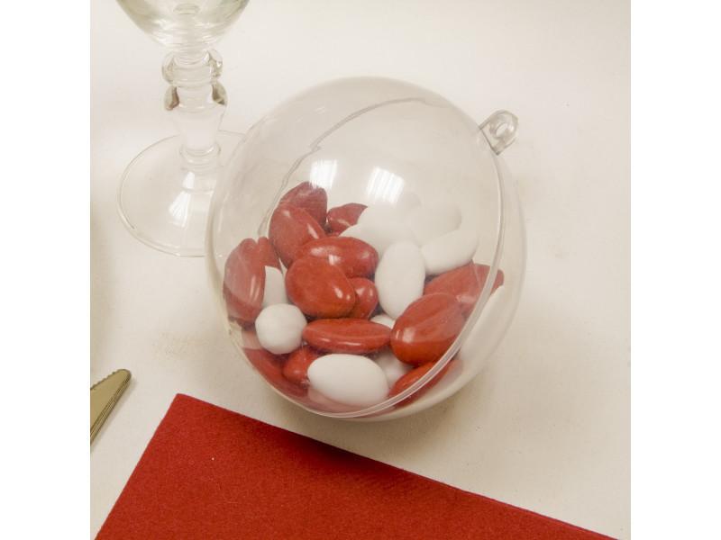 Lot de 10 boules décoratives transparente en plastique - dim : 10 cm
