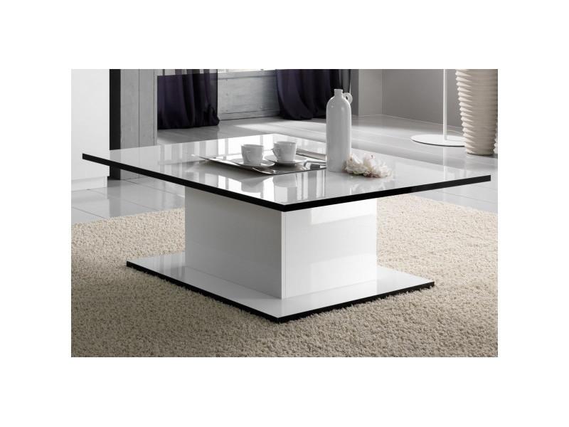 Table basse rectangulaire laquée blanc - cross - l 110 x l 60 x h 43 cm