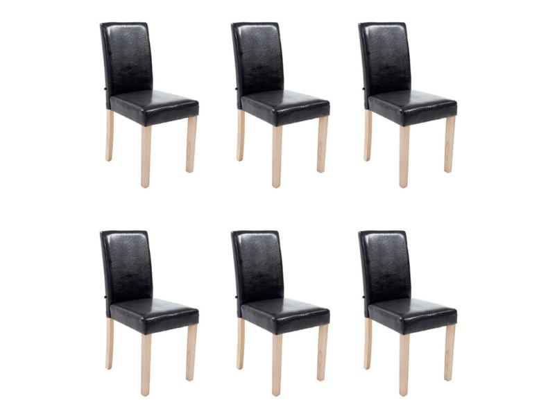 Lot de 6 chaise de salle à manger en simili cuir bois naturel, noir mya 181503101