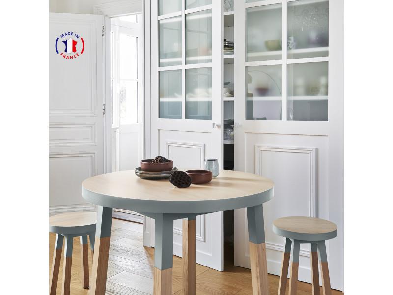 Table ronde 100% frêne massif 90x90 cm bleu gris lehon - 100% fabrication française